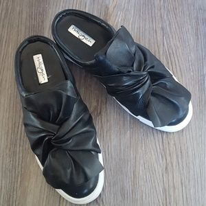 Halogen tie bow black leather slip on shoes